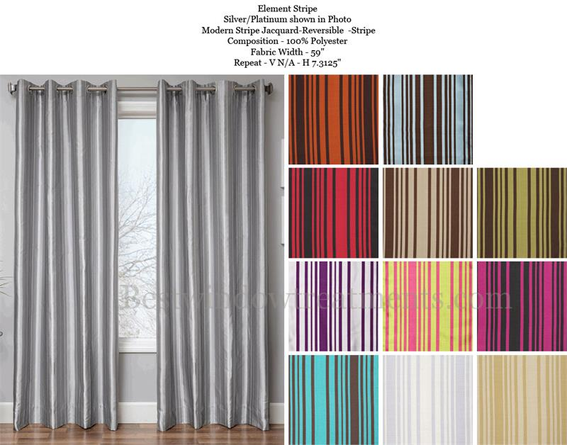 Element Modern Stripe Curtain : Optional Blackout, Lining, Grommets
