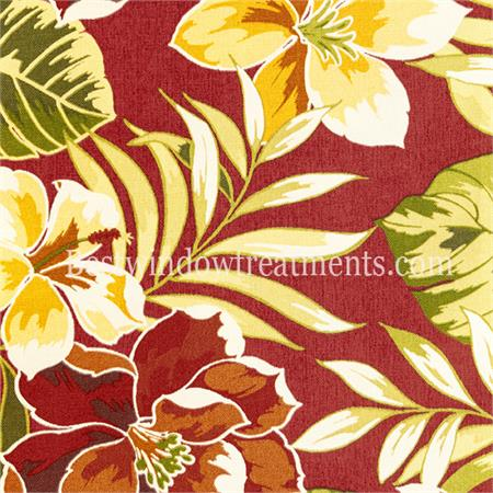 Red tropical design outdoor fabric