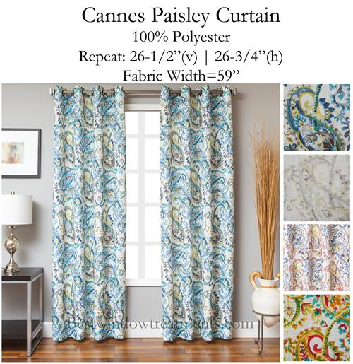 Cannes Paisley Curtain Optional Blackout Lining Grommets