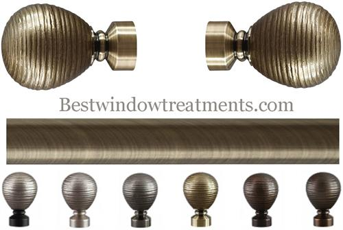 Striated Metal Ball Curtain Rod