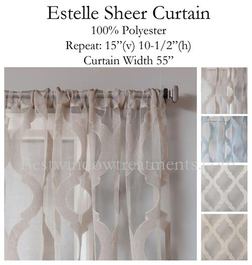 Estelle Moroccan Tile Burnout Sheer Curtain Panel In 4 Colors