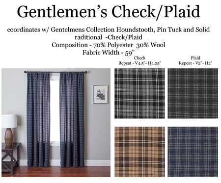 Gentlemen Plaid Curtain Drapery Panel Www