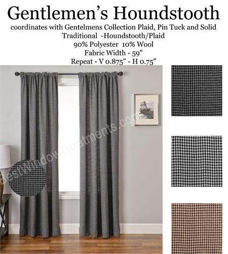 Gentlemens Houndstooth Curtains In Grey Black Or Brown Colors
