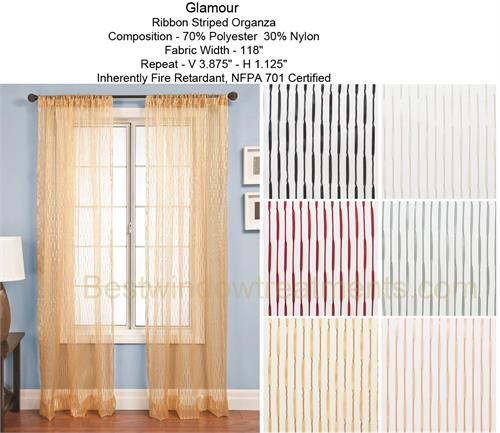 Glamour Ribbon Fire Retardant NFPA 701 Sheer Curtain Panel