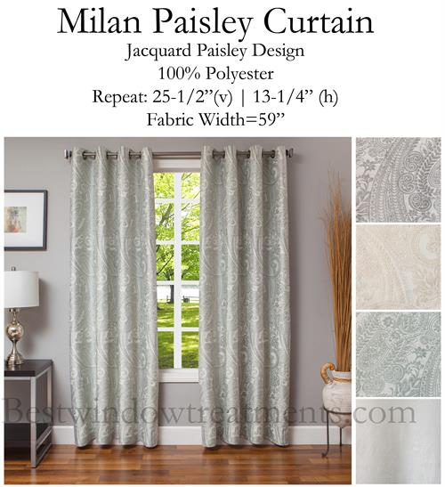 Milan Paisley Jacquard Curtain Optional Blackout Lining Grommets