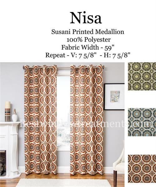 Nisa Pinwheel Medallion Circle Curtains with Blackout Lining option