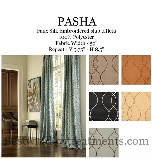 Pasha Faux Silk Curtains in Wave Pattern with Blackout Lining Rust Copper Color