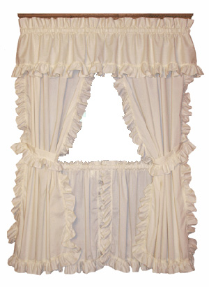 Beau Cape Cod Framed Ruffled Pairs W/ Ties
