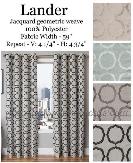 Lander Jacquard Geometric Modern Curtains in pastel blue, taupe, grey color