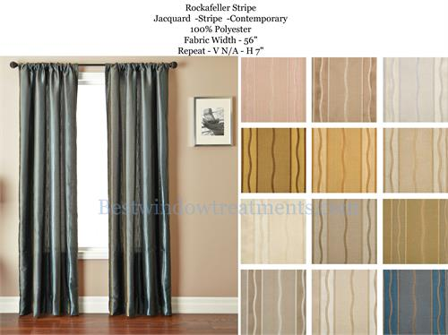 contemporary stripe woven faux silk drapery panels