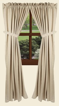 York Ticking Oat 86 Curtain Panels
