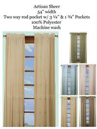 Artisan Sheer Curtain Panels In 5 Colors