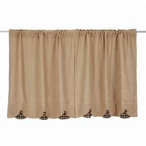 burlap w scallop check tier curtains pair - Kitchen Cafe Curtains
