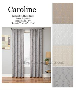 Caroline Linen Sheer Curtain Drapery Panel - Blackout Lining options