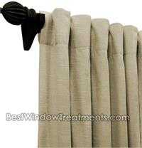 Custom Back Tab Drapes in single width Group 3 Fabrics