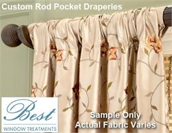 Custom Rod Pocket Draperies: Single Width Group 4 Fabrics : Sewn in USA