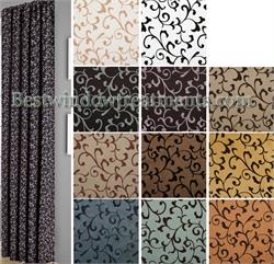 Delano Flocked Scroll Faux Silk Curtains :Optional Blackout Lining, Grommet