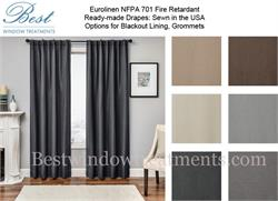 Euro Linen NFPA 701 Fire Retardant Curtains Ready-made Drapes