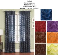 Eyelash Fancy Sheer Organza Curtain Panel : Grommets, Back Tabs