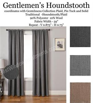 Gentlemens Houndstooth Curtains in grey, black or brown colors