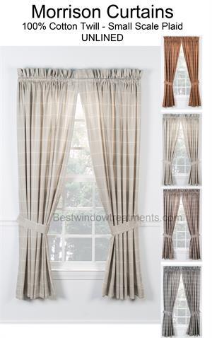Morrison Plaid Tailored Curtains With Tiebacks