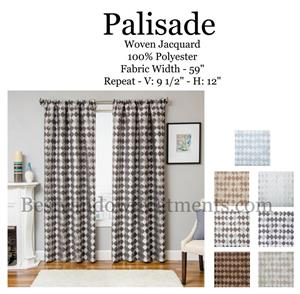Palisdale Remington Diamond Tile Design Curtains in several colors
