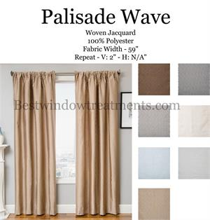 Palisade Wave Stripe/Pinstripe Curtains in blue, grey, brown, cream colors