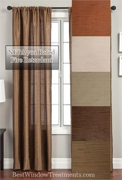 Serafina Faux Silk NFPA 701 Fire Retardant Rated Curtains and Drapes
