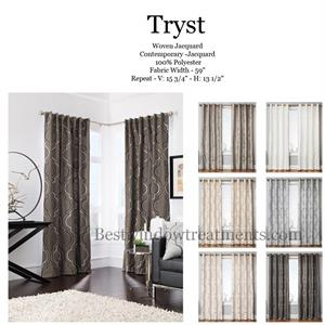 Tryst Moroccan quatrefoil Tile Curtains Blackout Lining Cream Grey White Black