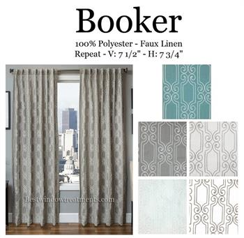 Booker Linen Embroidery : Geometric Scroll Pattern : Blackout Lining option