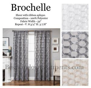 brochelle Shee rCurtains with Honeycomb Tile Style Drapes: Grey, White or Ivory/Cream