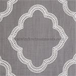 Giselle White on Grey Linen fabric Swatch