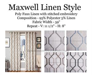 Maxwell Linen Curtains: Geometric Modern Diamond: Vintage Art Deco Style
