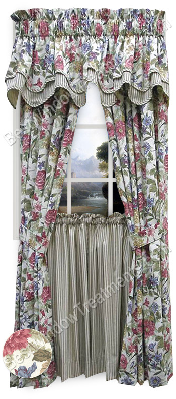 Fresh Country Rose Tailored Curtains (pair) with tie-backs