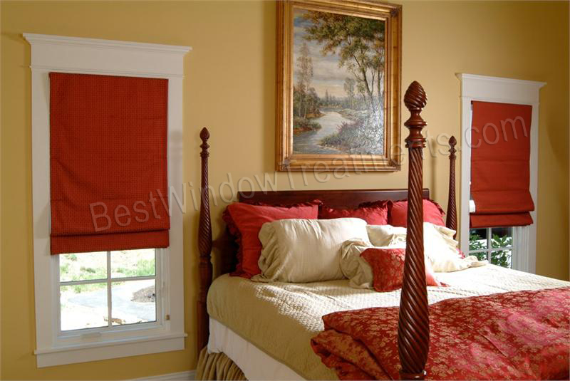 Red Roman Fabric Shades In Bedroom