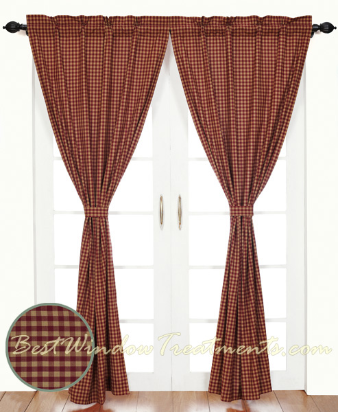 Burgundy Check Curtains Www