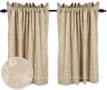 Candlewicking Taupe Tier Curtains