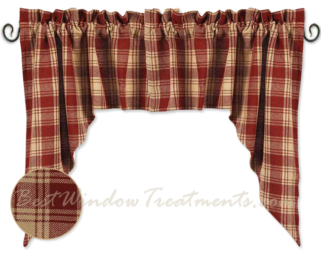Millbrook Check Barn Red Swag Curtains Bestwindowtreatments Com
