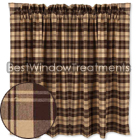 Millville Check Brown Nutmeg Tier Curtains