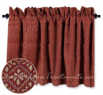 Philmont Jacquard Barn Red Tier Curtains